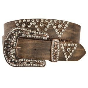 NEW Shyanne Genuine Leather Bling Jeweled Belt S/M
